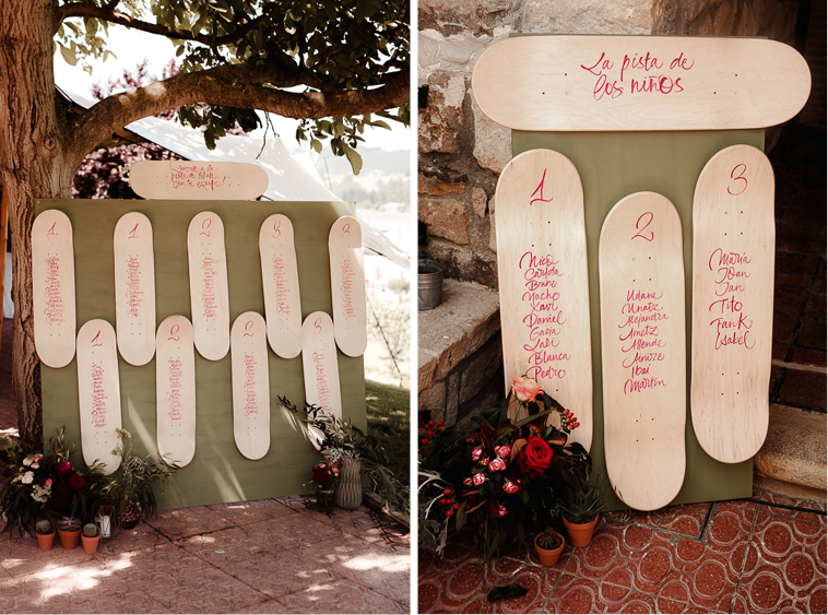 seating plan original Lara & Patxi | Boda surfera en Barrika